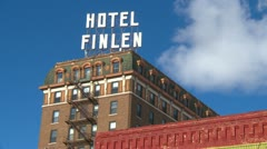 Butte Montana Hotel Finlen, signage and building Stock Footage