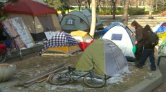Protest, Occupy (Wall-Street) Calgary tent camp - stock footage