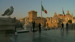 National Monument to Victor Emmanuel II, tourists slow motion, Rome Stock Footage