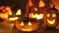 glowing halloween pumpkins - stock footage