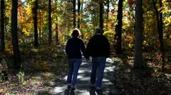 Mature Couple Walk Path Stock Footage