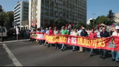 Demonstration against IMF / austerity plan in Lisbon, Portugal Stock Footage