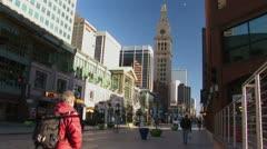 Pedestrian on 16th Street sidewalk, Downtown Denver, CO Stock Footage