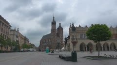 Timelapse of St. Mary's Basilica and Sukiennice in Krakow, Poland Stock Footage