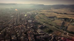 Aerial view of a town and countryside Stock Footage