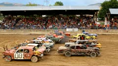 Demolition derby 11 start Stock Footage