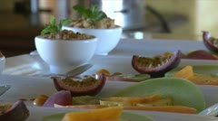 Tropical fruits on a plate Stock Footage