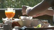 Stock Video Footage of Breakfast at pond