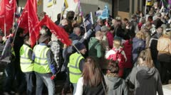 Striking workers marching Stock Footage