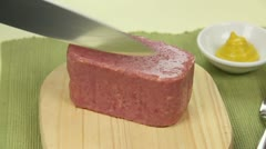 Slicing Spam - stock footage