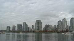 Vancouver condos skyline pan, False Creek Stock Footage