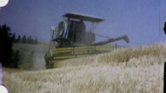 Giant Tractor Cuts Wheat Farm Harvest Machinery 60s Vintage Film Home Movie 1442 Stock Footage