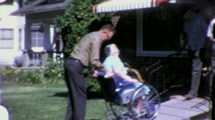 Sick Old Woman in Wheelchair Circa 1965 (Vintage Film Home Movie) 1440 - stock footage