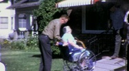 Stock Video Footage of Sick Old Woman in Wheelchair Circa 1965 (Vintage Film Home Movie) 1440
