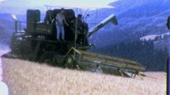 Wheat Farming Combine Cuts Crop USA Harvest 1960s Vintage Film Home Movie 1441 Stock Footage