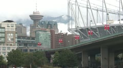 Time-lapse, Vancouver skyline Place and Harbour Centre, clouds Stock Footage