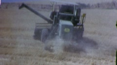 Giant Tractor Combine Wheat Harvests Wheat 1960s Vintage Film Home Movie 1445 Stock Footage