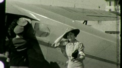Passengers Disembark AIRPLANE AIRPORT 1930s Vintage Film Home Movie Footage 1447 Stock Footage