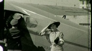 Stock Video Footage of Passengers Disembark AIRPLANE AIRPORT 1930s Vintage Film Home Movie Footage 1447
