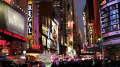 Busy night life of Downtown New York City Stock Footage