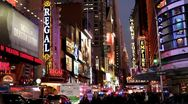 Stock Video Footage of Busy night life of Downtown New York City
