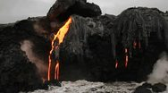 Stock Video Footage of Spectacular dusk lava flow from a volcano into ocean suggest birth of planet.