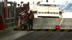 ferry ramp, ferry arriving - stock footage
