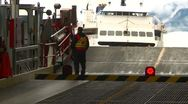 Ferry ramp, ferry arriving Stock Footage