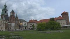 View of Wawel Castle in Kraków in Poland Stock Footage