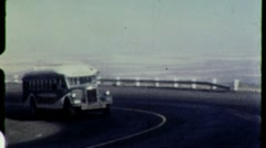 GREYHOUND Bus On Road Comes Round the Bend 1950s Vintage Film Home Movie 1462 Stock Footage