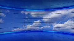 clouds on screens in blue virtual studio loop - stock footage