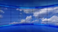 Stock Video Footage of clouds on screens in blue virtual studio loop