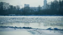 Floating of ice on a river Stock Footage