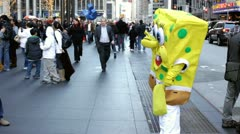 Spongebob on new york city street Stock Footage