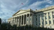 Stock Video Footage of U.S. Treasury Department building in Washington, DC.