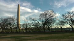 Washington Monument, another view in the fall.  Nice clouds and late light. Stock Footage