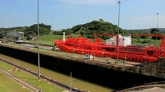 Panama Canal Red Tanker - stock footage