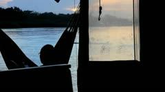 Hammock on the Ocean in Panama Stock Footage