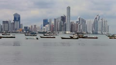 Panama City Bay with Fishing Boats Stock Footage