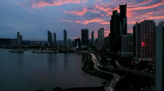 Panama City, Panama with a Pink Sunset Stock Footage