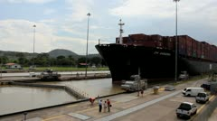 Panama Canal Cargo Ship sits in the Locks Stock Footage