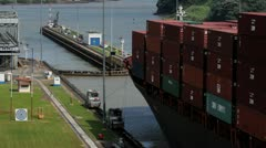 Panama Canal Cargo Ship Passes - stock footage