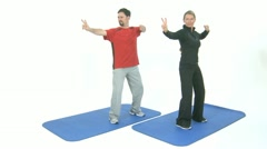 Two People practicing tai chi Stock Footage