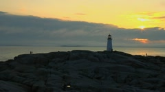Stock Video Footage of Lighthouse at Peggy's Cove at Sunset-Nova Scotia, Canada