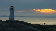 Classic Lighthouse at Peggy's Cove- Nova Scotia, Canada Stock Footage