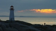 Stock Video Footage of Classic Lighthouse at Peggy's Cove- Nova Scotia, Canada