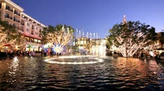 DANCING WATER FOUNTAIN AT NIGHT Stock Footage