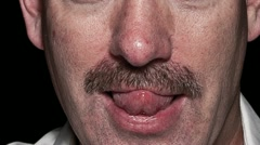 Man growing mustache timelapse close up Stock Footage