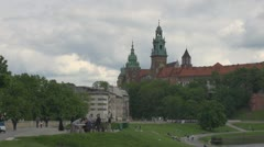 View of Wawel Castle in Kraków in Poland Stock Footage