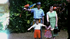 Happy Goofy American Family Zoo Kids Parrots 1960s Vintage Film Home Movie 1474 Stock Footage